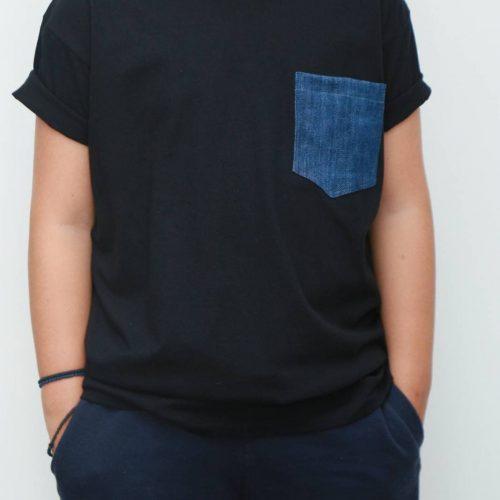 T-shirt jean τσέπη