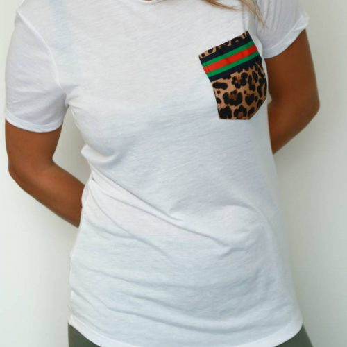 T-shirt handmade leopar pocket