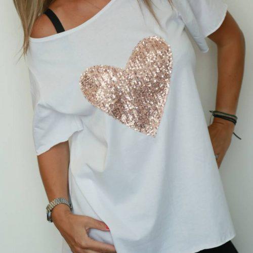 T-shirt handmade pink heart
