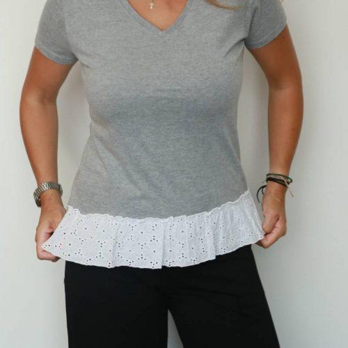 T-shirt handmade με βολάν