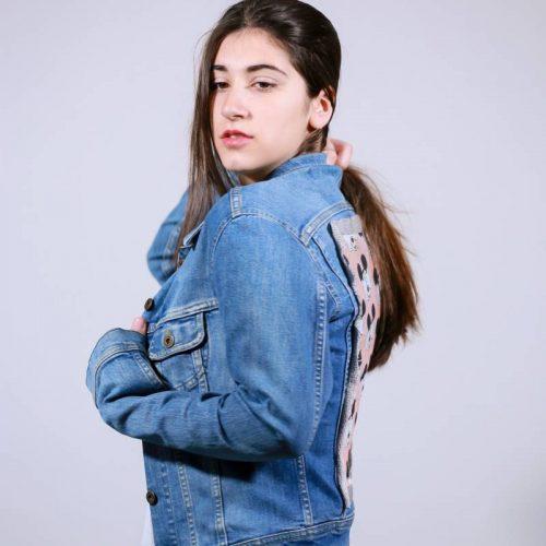 Jean jacket με  χειροποίητο aplike  pink Minnie