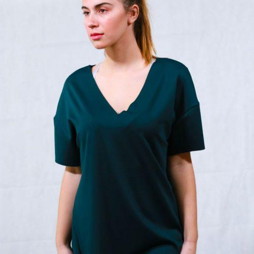 Dark green μπλούζα με ασύμμετρο  τελείωμα μπρος-πίσω