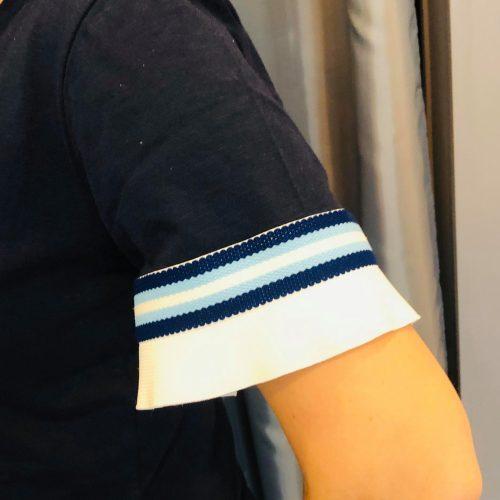 Handmade T-shirt μπλε με ριγέ βολάν διακόσμηση