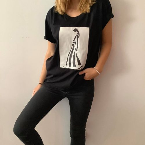 T-shirt black & white Lady
