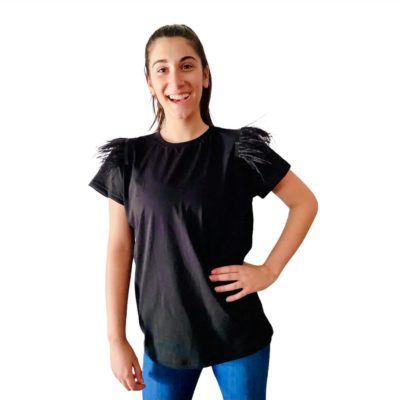 T-shirt black Feathers