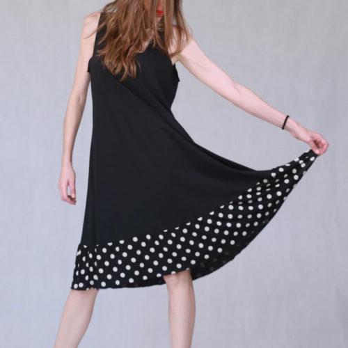Φόρεμα βαμβακερό με πουά τελείωμα