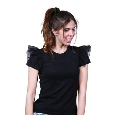 T-shirt με πουά τούλι στους ώμους 2021.27