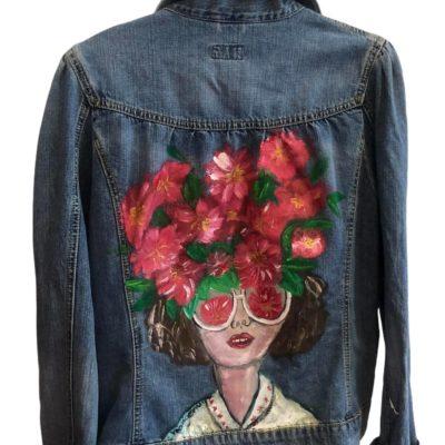 Jean jacket κοπέλα λουλούδια 2021.22