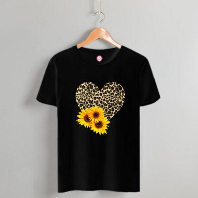 T-shirt leopar heart & flowers black #2021.64