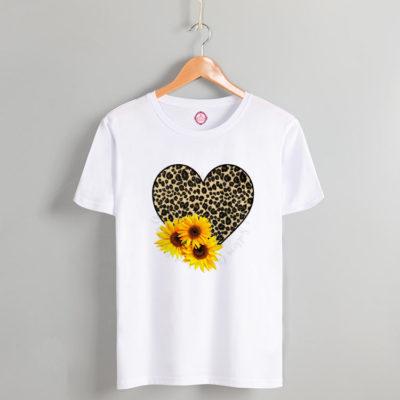 T-shirt leopar heart & flowers white #2021.62