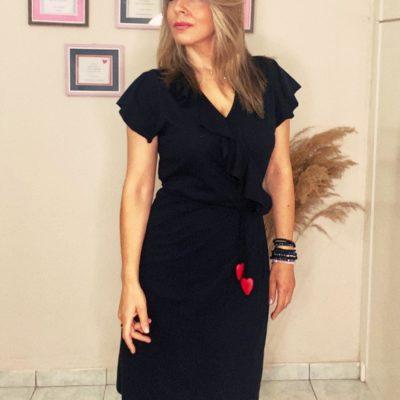 Red hearts black krouaze dress #2021.105