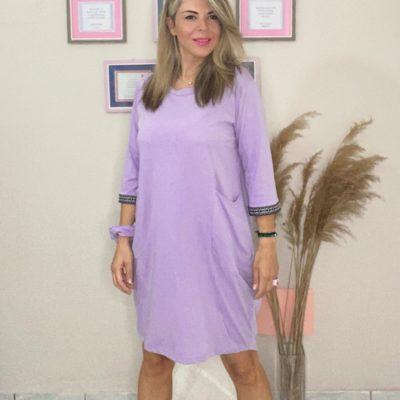 """Φόρεμα """"σάκος"""" λιλά #2021.113"""