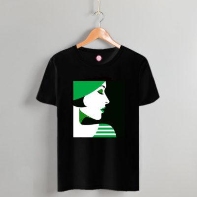 T-shirt green lady #2021.142