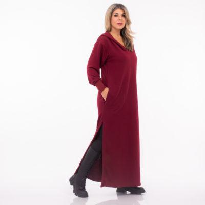 Φόρεμα φούτερ μακρύ με κουκούλα Myrtw