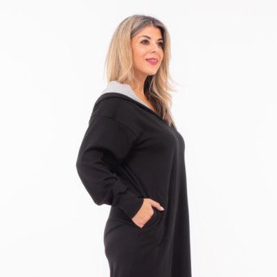 Φόρεμα μακρύ με κουκούλα Vally