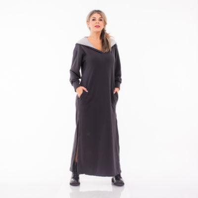 Φόρεμα μακρύ με κουκούλα Lida